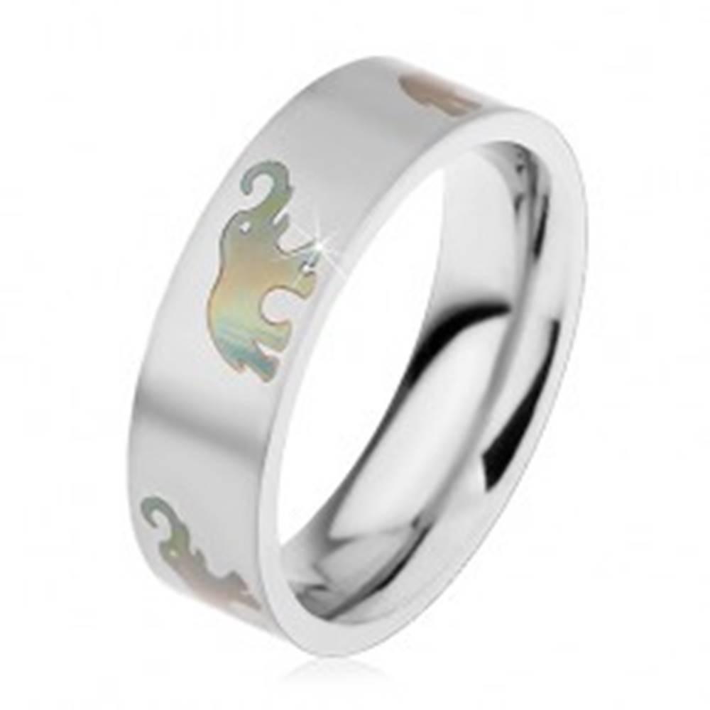 Šperky eshop Oceľová obrúčka s matným povrchom a motívom slonov, 6 mm - Veľkosť: 49 mm