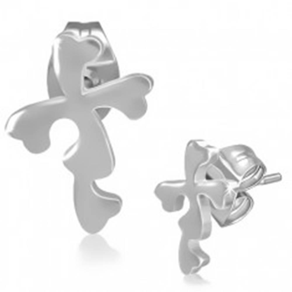 Šperky eshop Oceľové náušnice - puzetky s kvetinovým krížom