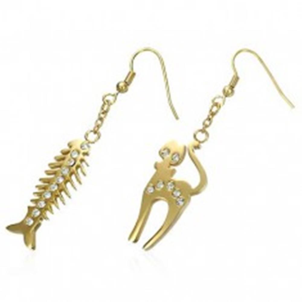 Šperky eshop Oceľové náušnice zlatej farby - mačka a rybacia kosť, číre zirkóniky