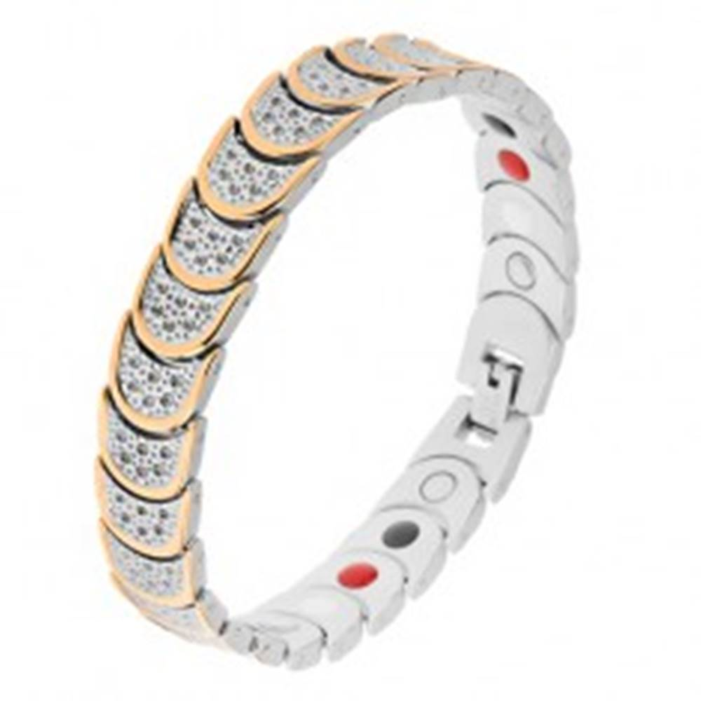 Šperky eshop Oceľový náramok striebornej a zlatej farby, polkruhy, guličky, magnety