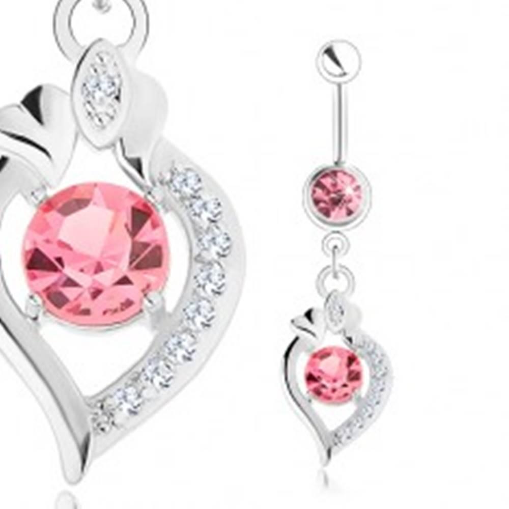 Šperky eshop Oceľový piercing do brucha, strieborná farba, ružové zirkóny, obrys zrnka