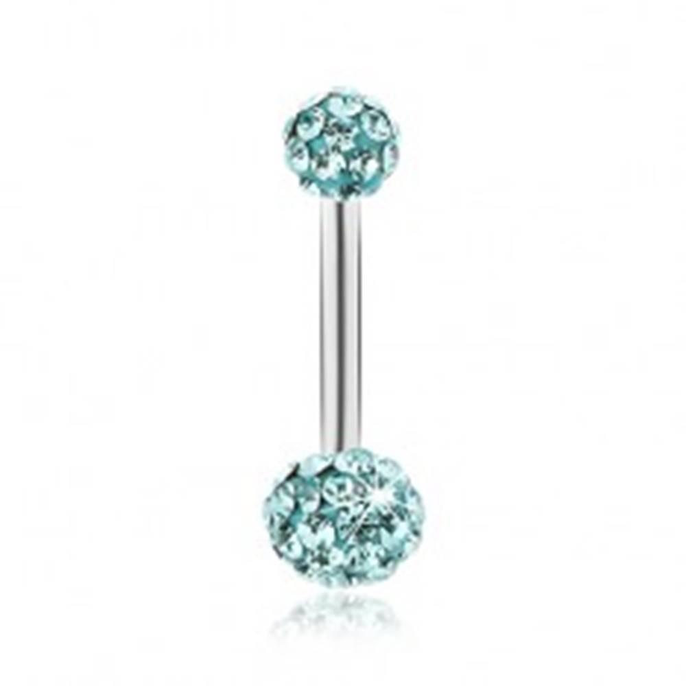 Šperky eshop Oceľový piercing do brucha, svetlomodré guličky, trblietavé zirkóny