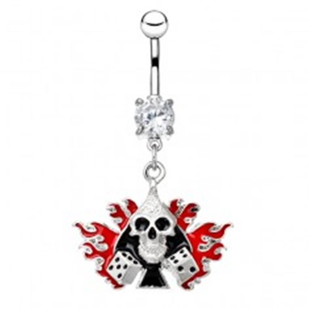 Šperky eshop Oceľový piercing do bruška - lebka s kockami v plameňoch