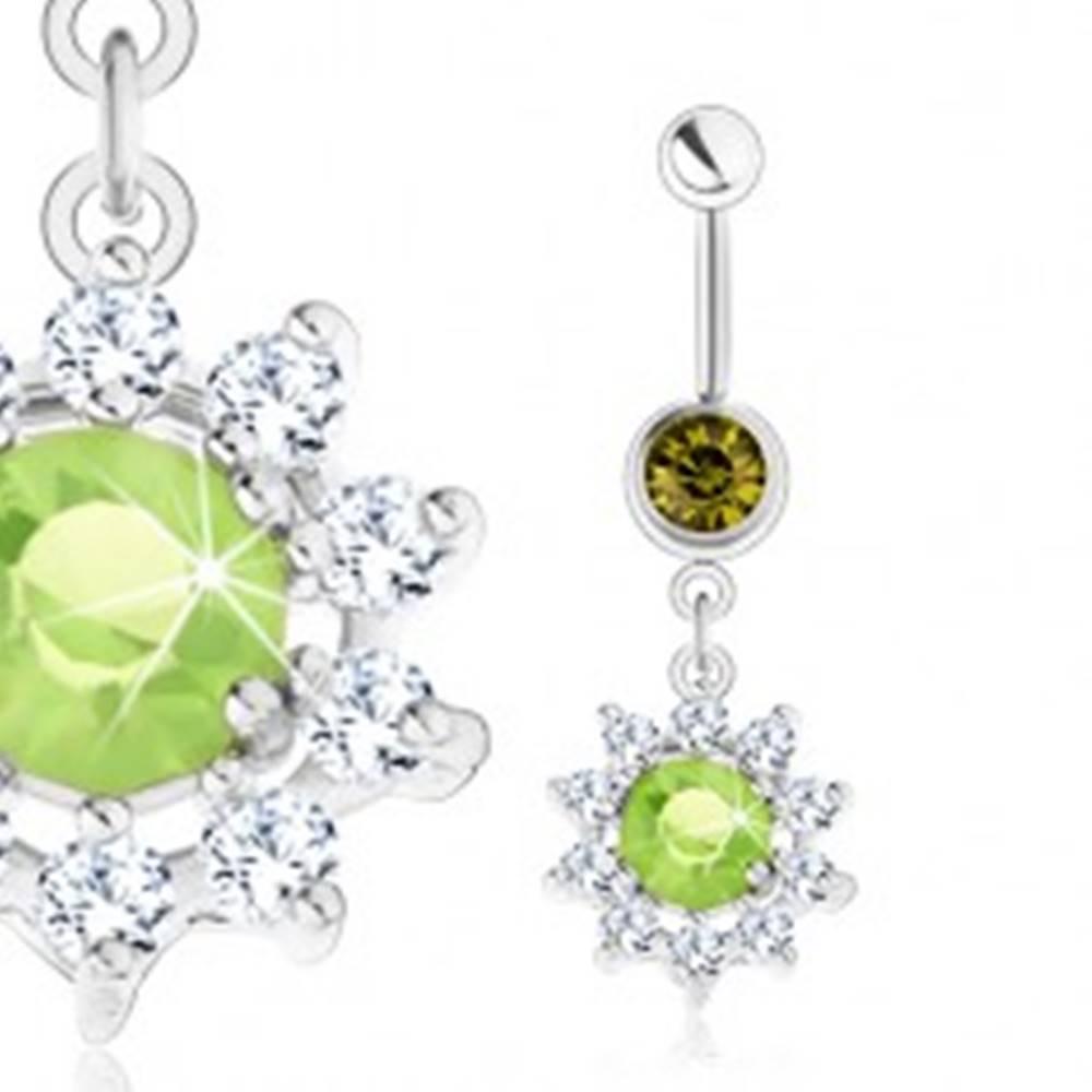 Šperky eshop Oceľový piercing do bruška, strieborná farba, kvet - zelený zirkón, číre lupene