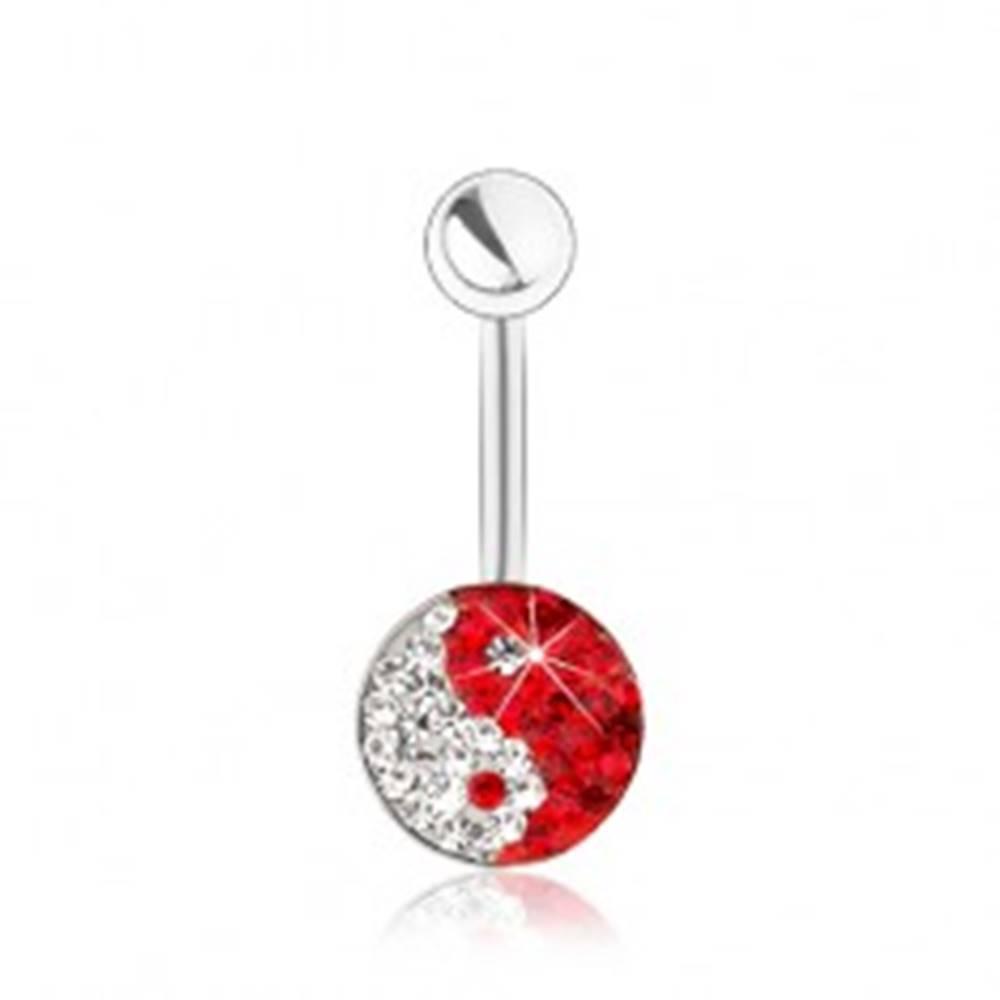 Šperky eshop Oceľový piercing do bruška, symbol Jin a Jang, číre a červené zirkóniky