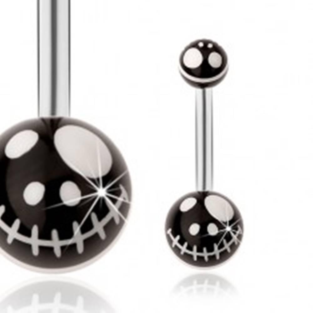 Šperky eshop Oceľový piercing do pupka, čierne guličky - motív kreslenej lebky z rozprávky