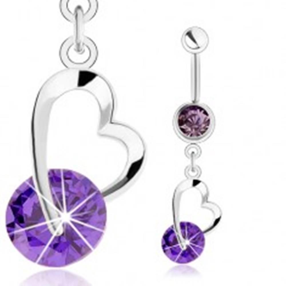 Šperky eshop Oceľový piercing do pupka, strieborná farba, fialový zirkón, kontúra srdiečka