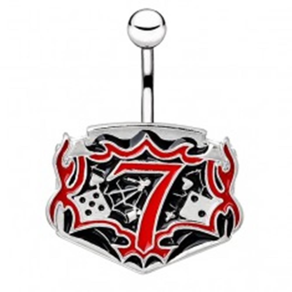 Šperky eshop Oceľový piercing do pupku - tabuľka s kockami a číslom sedem