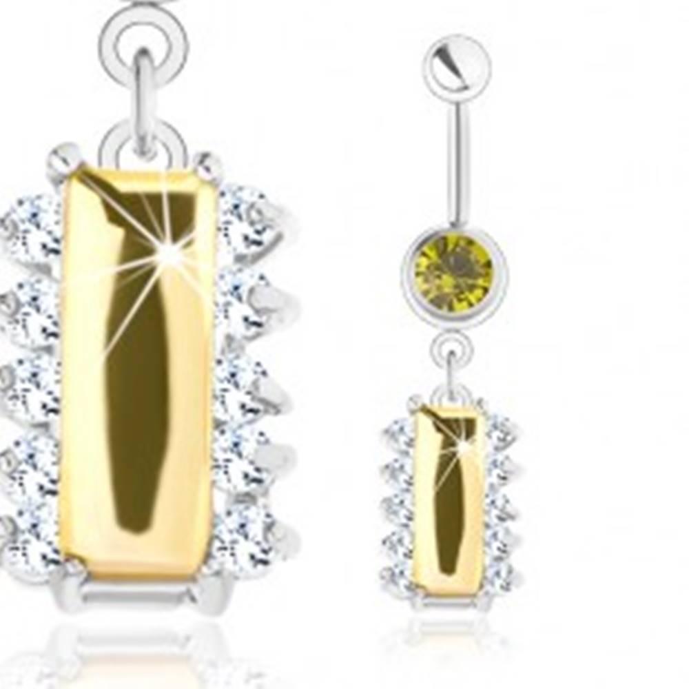 Šperky eshop Oceľový piercing, strieborný odtieň, žltý zirkónový obdĺžnik, číre zirkóniky