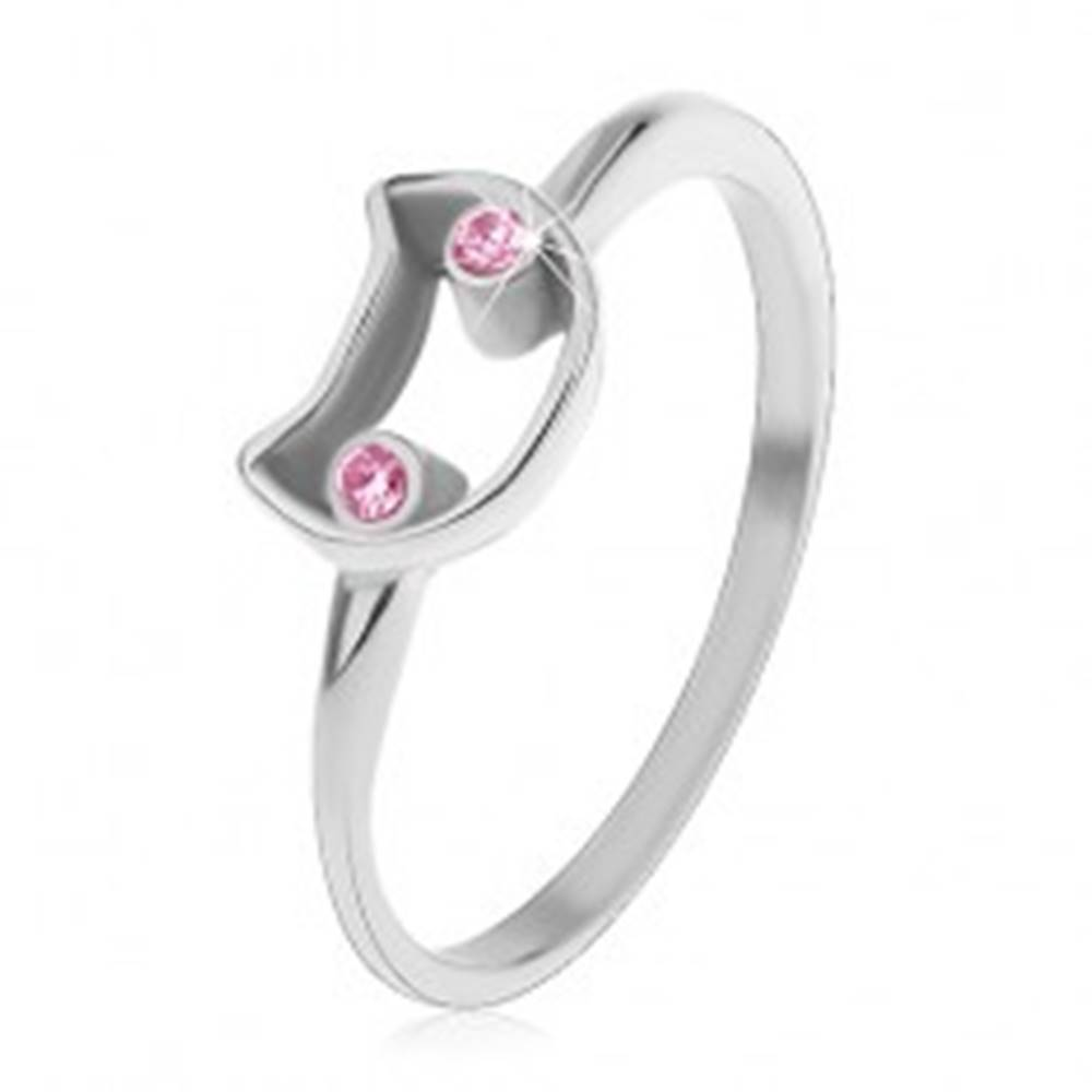 Šperky eshop Oceľový prsteň pre deti, úzke ramená, kontúra mačky so svetloružovými očami - Veľkosť: 44 mm