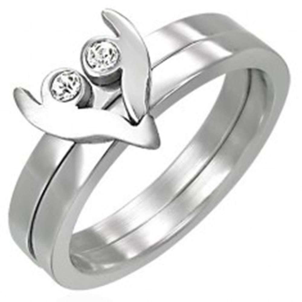 Šperky eshop Oceľový prsteň z dvoch častí - srdiečko so zirkónmi - Veľkosť: 43 mm
