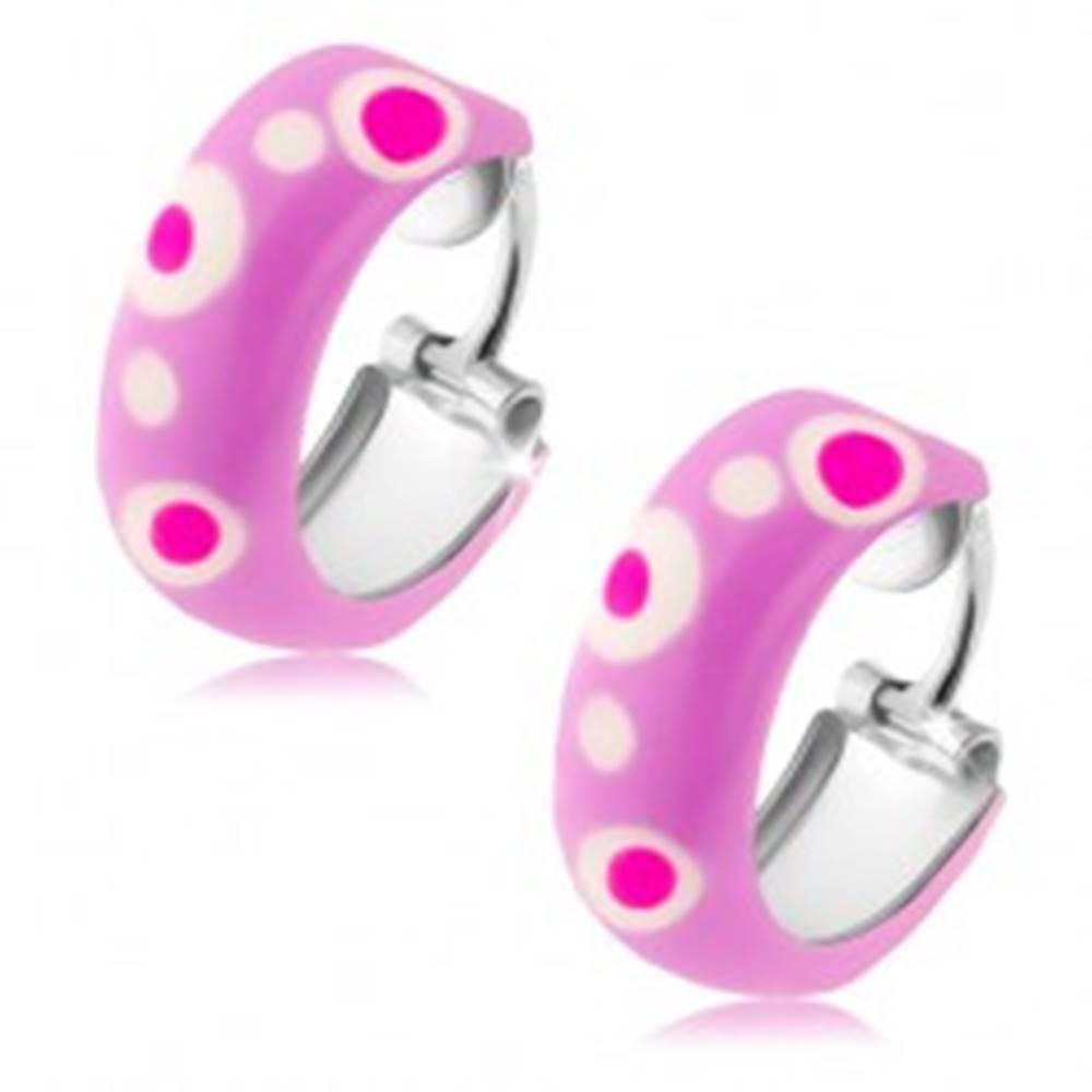 Šperky eshop Okrúhle strieborné náušnice 925, fialová glazúra, ružové a biele bodky