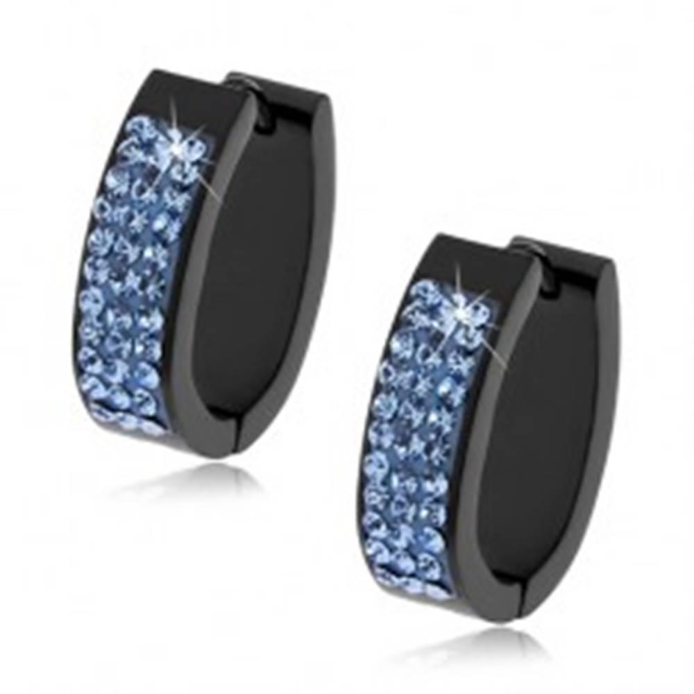 Šperky eshop Oválne kĺbové náušnice z ocele čiernej farby, svetlomodré kamienky