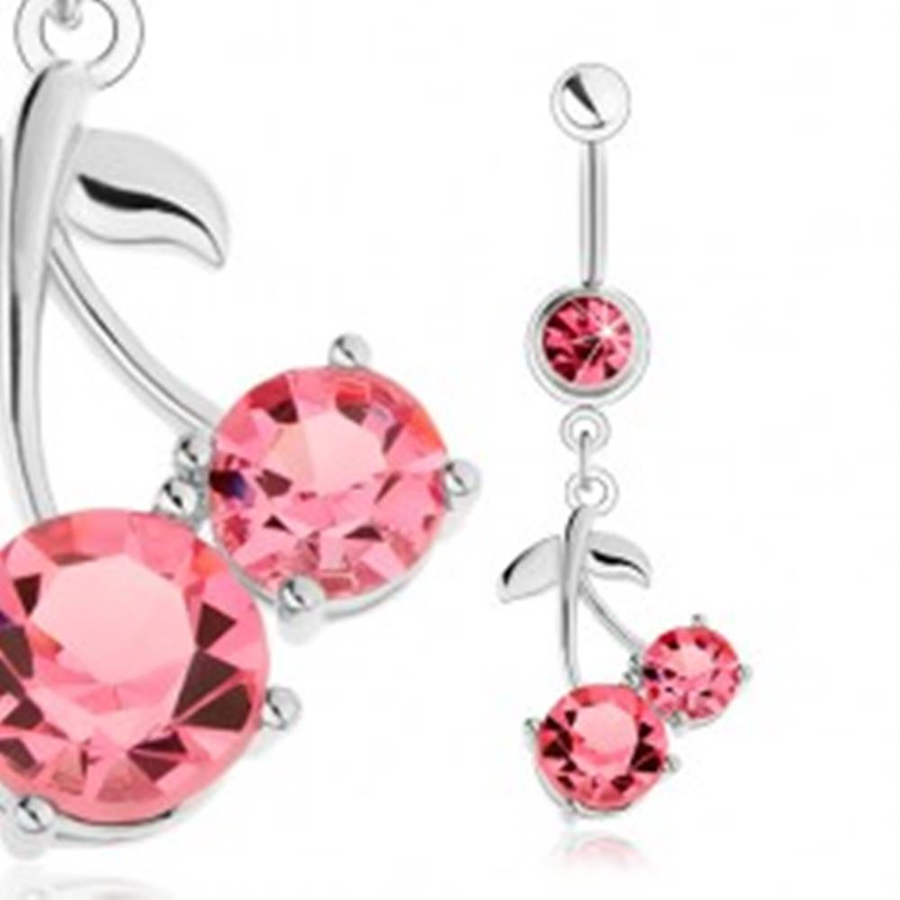 Šperky eshop Piercing do brucha z ocele 316L, strieborný odtieň, ružové čerešne, lesklé lístky