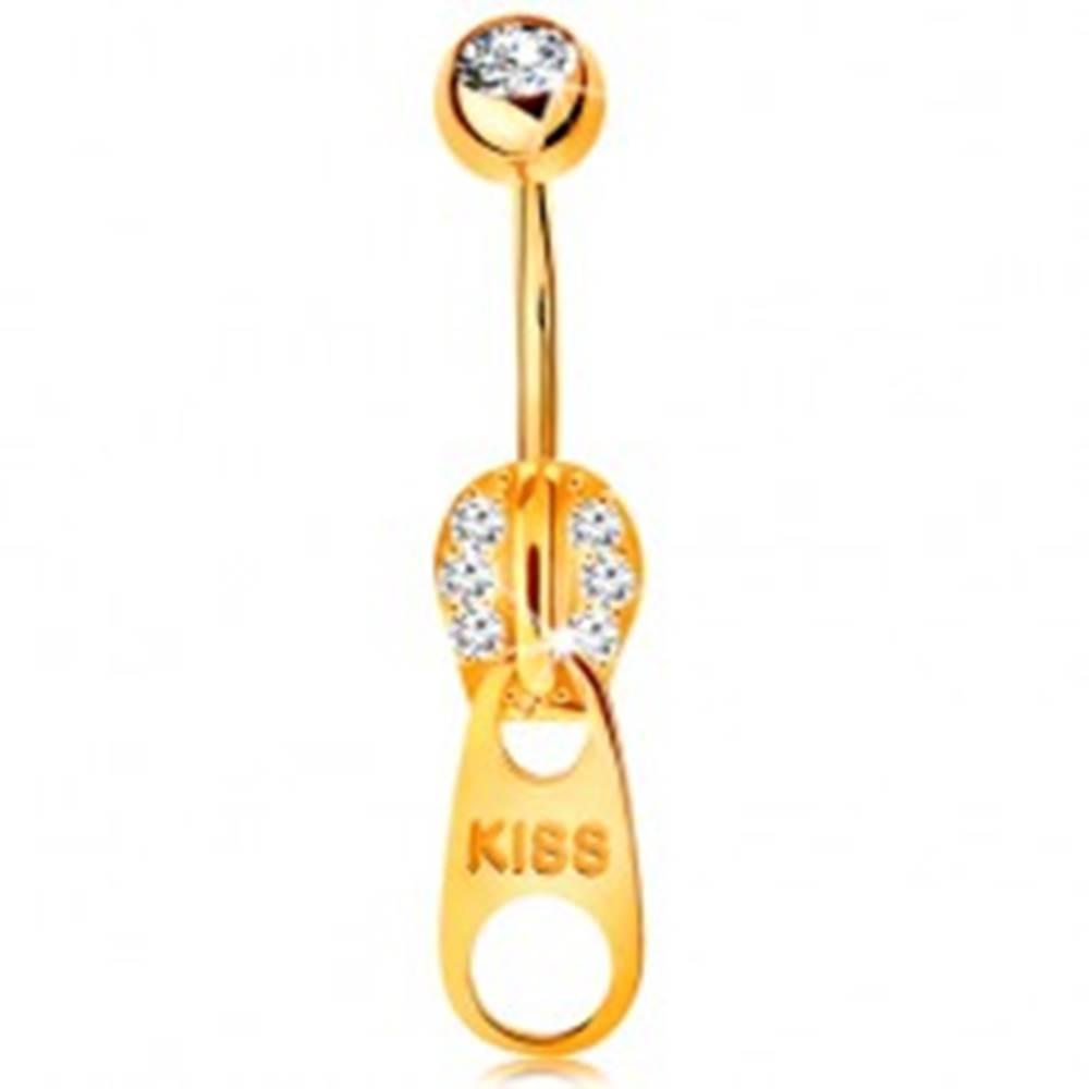 Šperky eshop Piercing do bruška v žltom 9K zlate - zips zdobený zirkónikmi a nápisom KISS