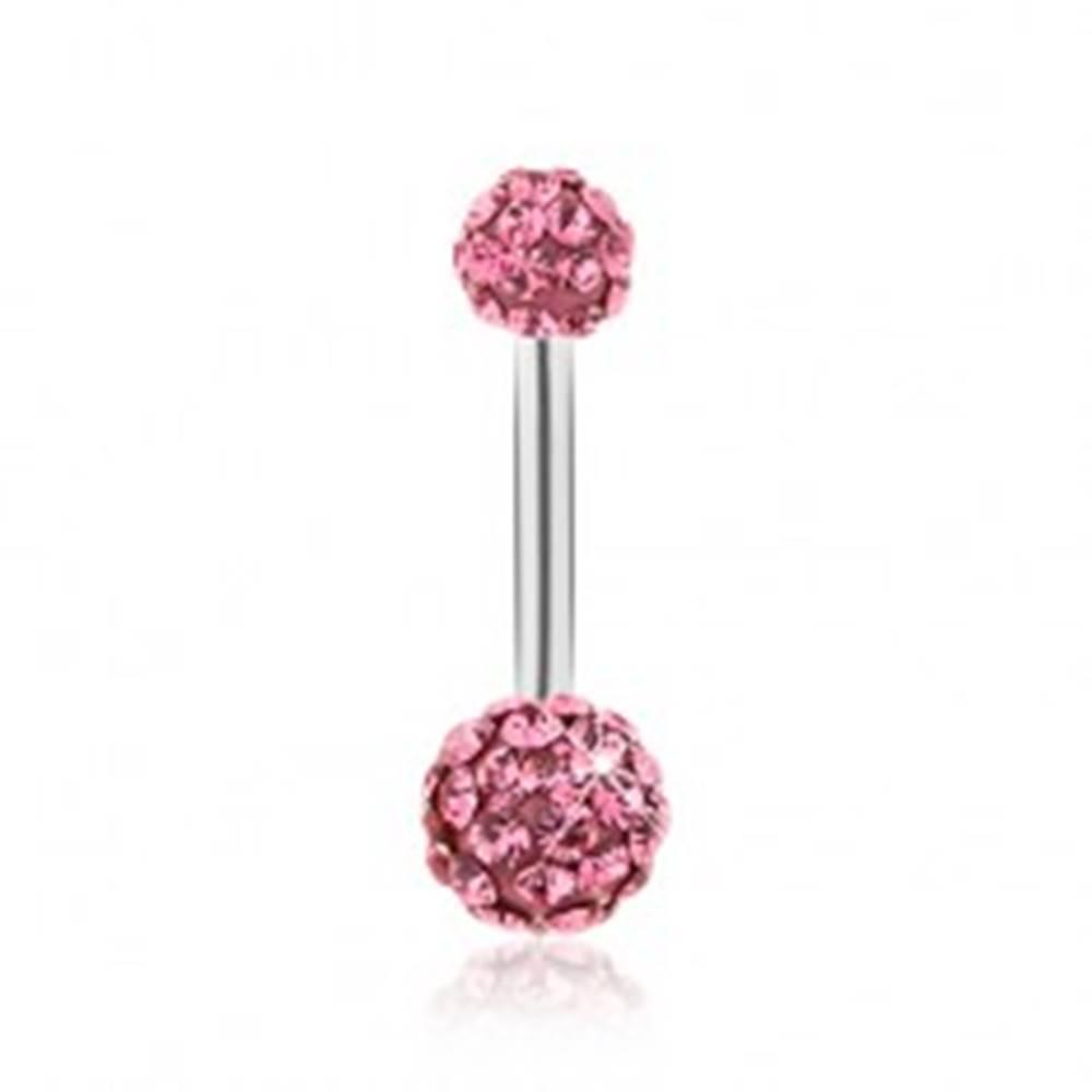 Šperky eshop Piercing do bruška z chirurgickej ocele, guličky zdobené fuksiovými zirkónmi