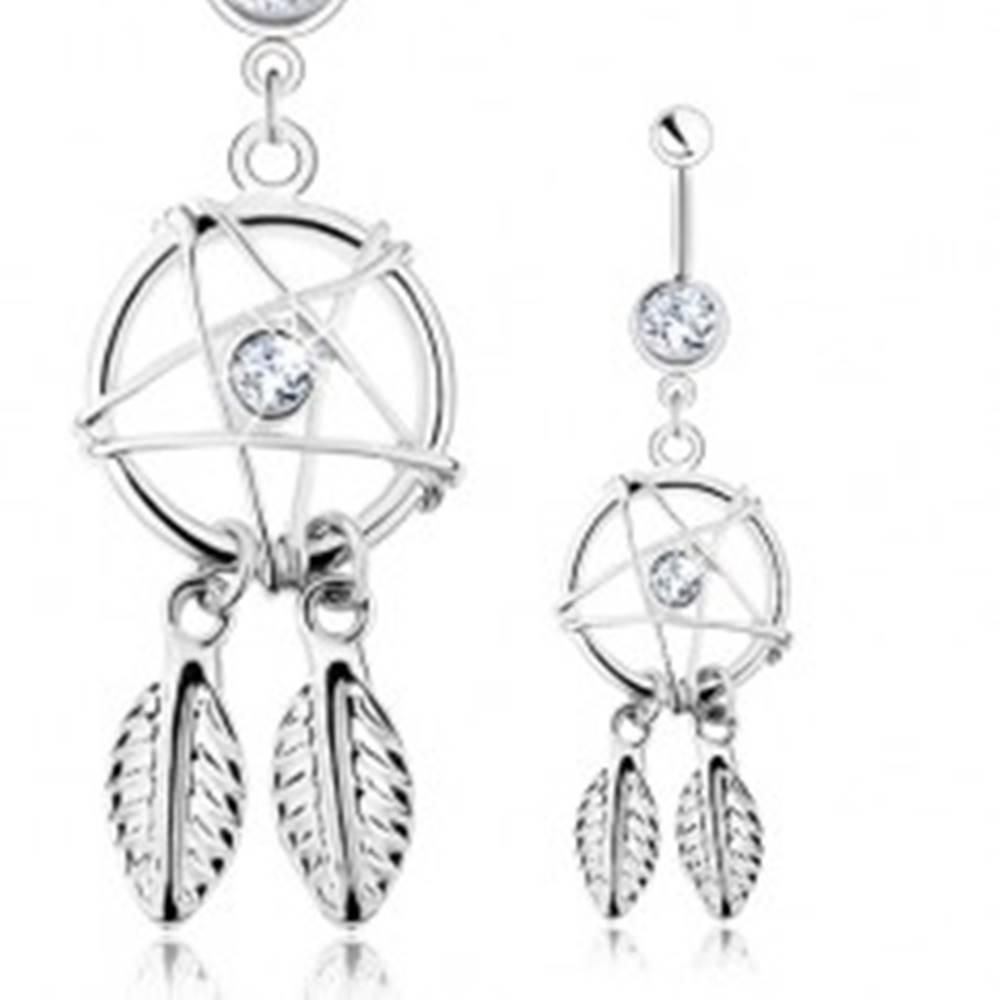 Šperky eshop Piercing do pupka, oceľ 316L, lapač snov - pentagram, pierka, číre zirkóny