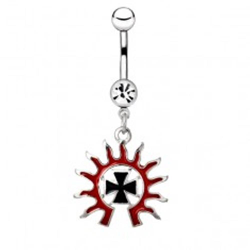 Šperky eshop Piercing do pupku z ocele - čierny kríž v ohnivej žiare