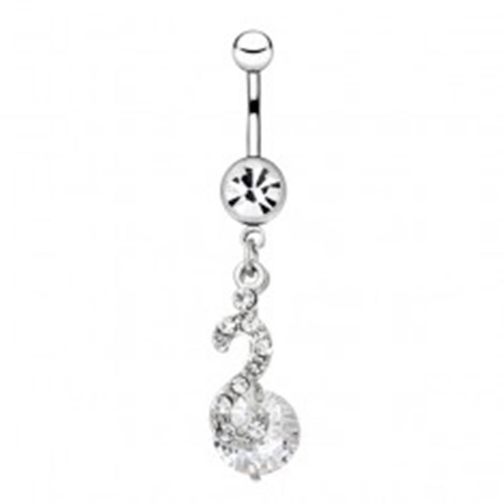 Šperky eshop Piercing do pupku z ocele - esovitý prívesok a zirkón na paličke