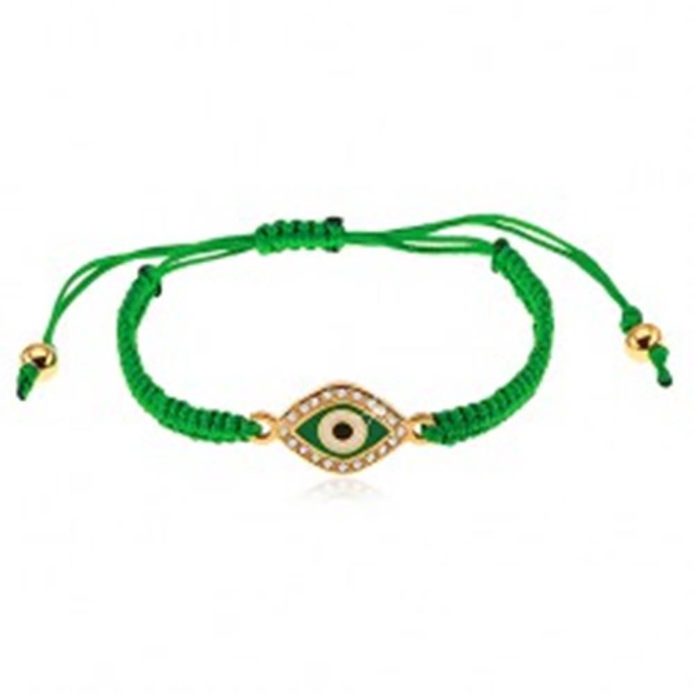 Šperky eshop Pletený náramok tmavozelenej farby, symbol oka zdobený čírymi zirkónmi