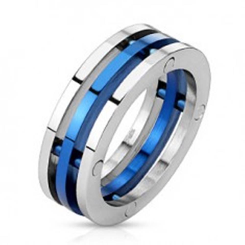 Šperky eshop Prsteň z ocele - dvojfarebné oddelené prstence - Veľkosť: 56 mm