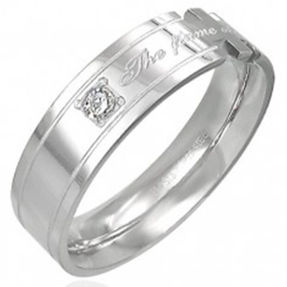 Šperky eshop Prsteň z ocele s nápisom - The flame of our love! - Veľkosť: 52 mm