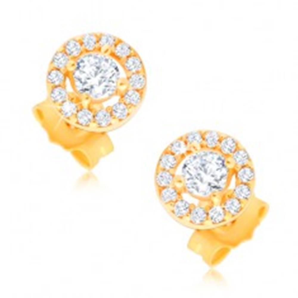 Šperky eshop Puzetové náušnice zo 14K zlata - kruh so vsadenými čírymi zirkónikmi