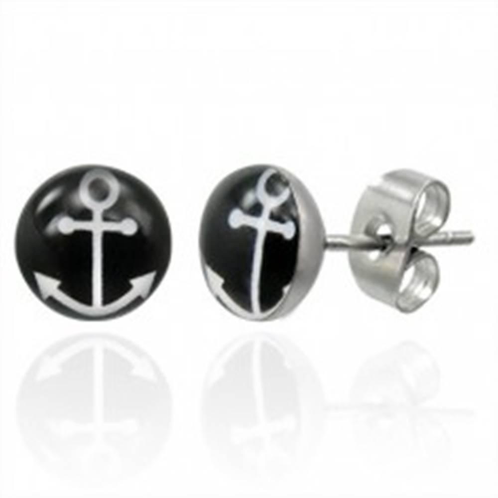 Šperky eshop Puzetové oceľové náušnice s bielym symbolom kotvy na čiernom kruhu