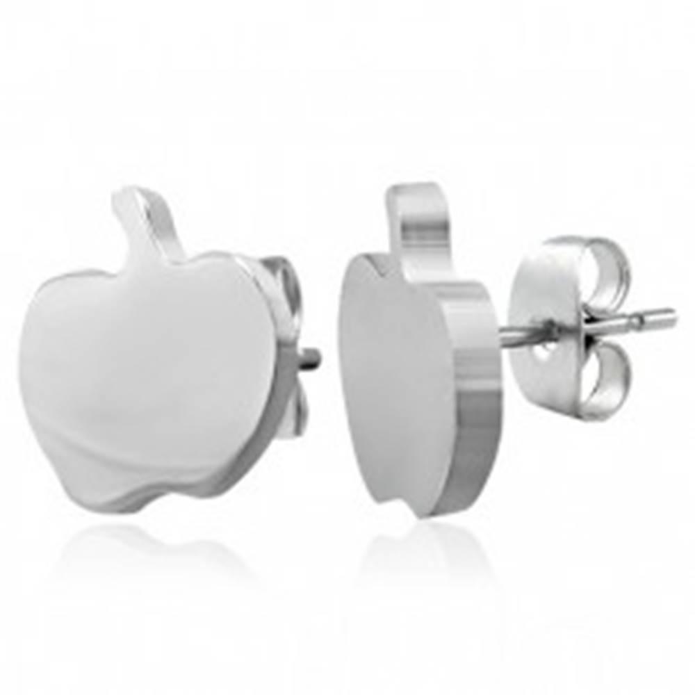 Šperky eshop Puzetové oceľové náušnice striebornej farby - jablko