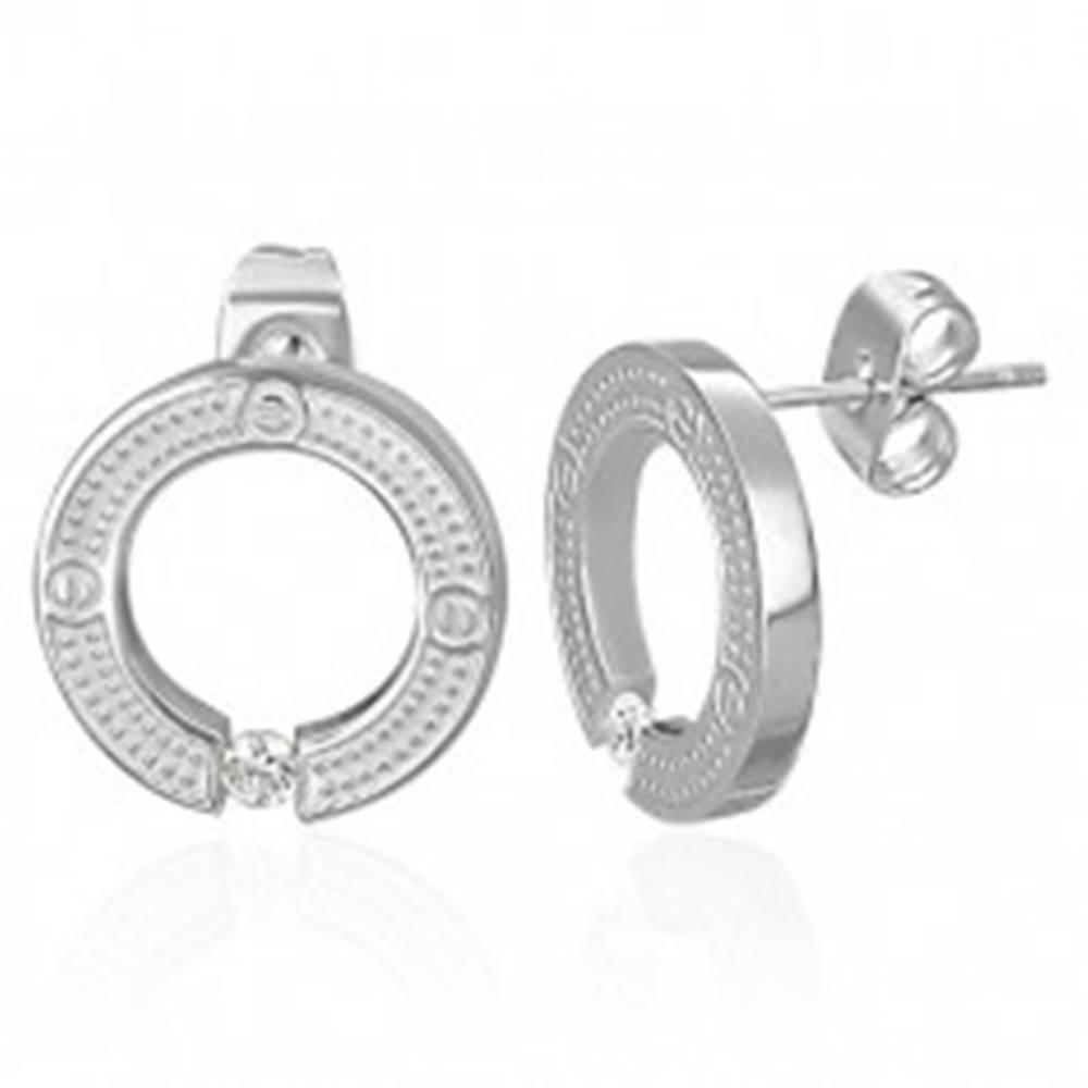 Šperky eshop Puzetové okrúhle náušnice z chirurgickej ocele, strieborná farba, vsadený číry zirkón