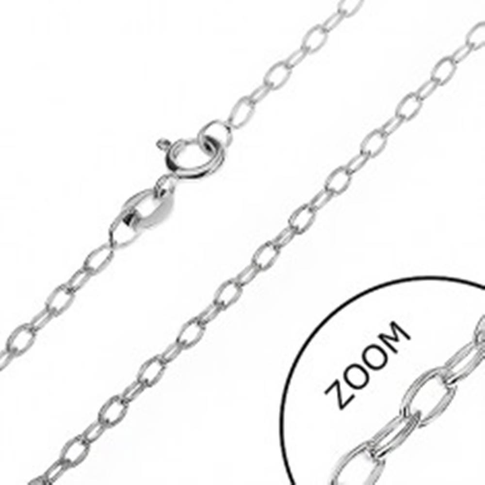 Šperky eshop Retiazka zo striebra 925 - hladké kolmo uchytené ovály, 2 mm