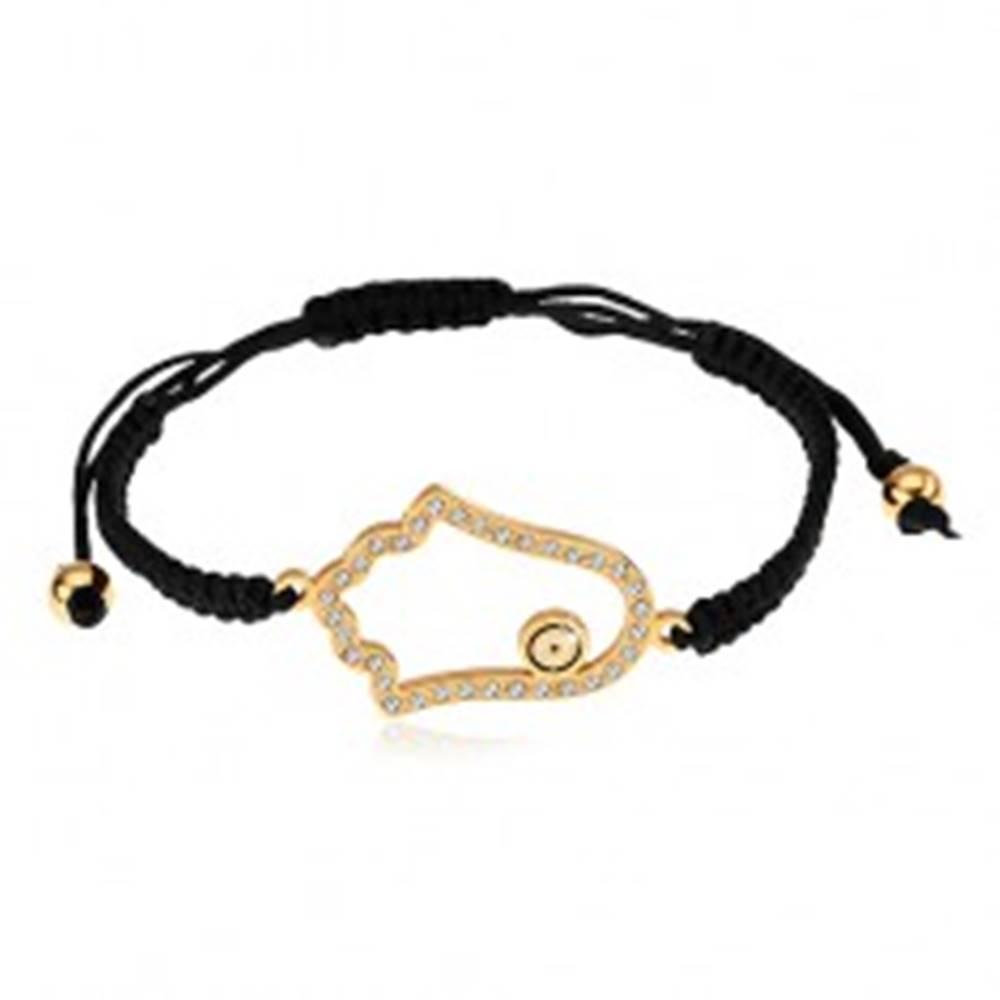 Šperky eshop Šnúrkový náramok na ruku čiernej farby, zirkónová kontúra Fatiminej ruky