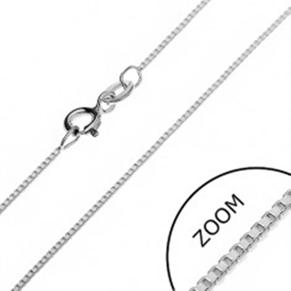 Šperky eshop Strieborná retiazka 925 - husto prepojené prázdne kocky, 0,85 mm
