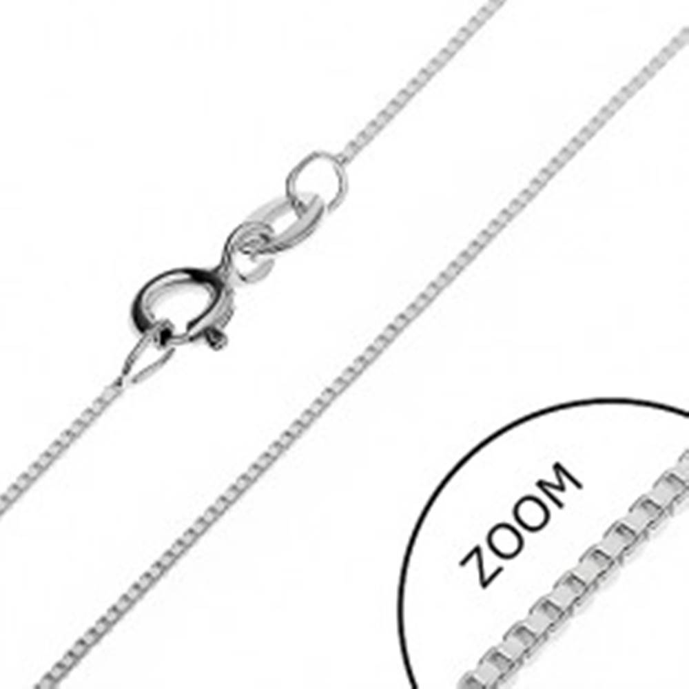 Šperky eshop Strieborná retiazka 925 - kolmo prepojené prázdne kocky, 0,7 mm