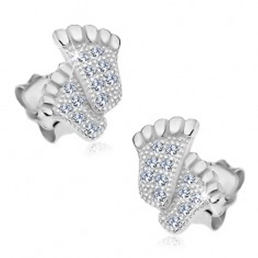 Šperky eshop Strieborné 925 náušnice, nôžky zdobené zirkónikmi čírej farby, puzetky