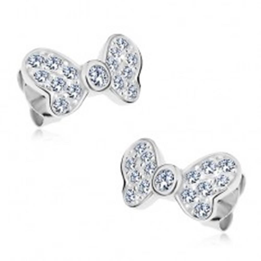 Šperky eshop Strieborné náušnice 925, mašľa so žiarivými čírymi zirkónmi, puzetové zapínanie