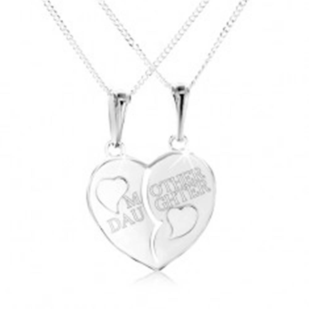 """Šperky eshop Strieborný náhrdelník 925, rozpolené srdce s nápisom """"MOTHER DAUGHTER"""""""