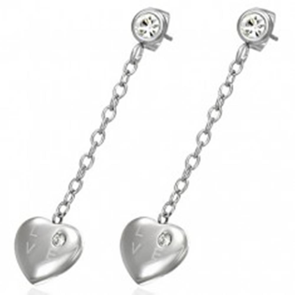 Šperky eshop Visiace oceľové náušnice - srdce so zirkónom, nápis LOVE