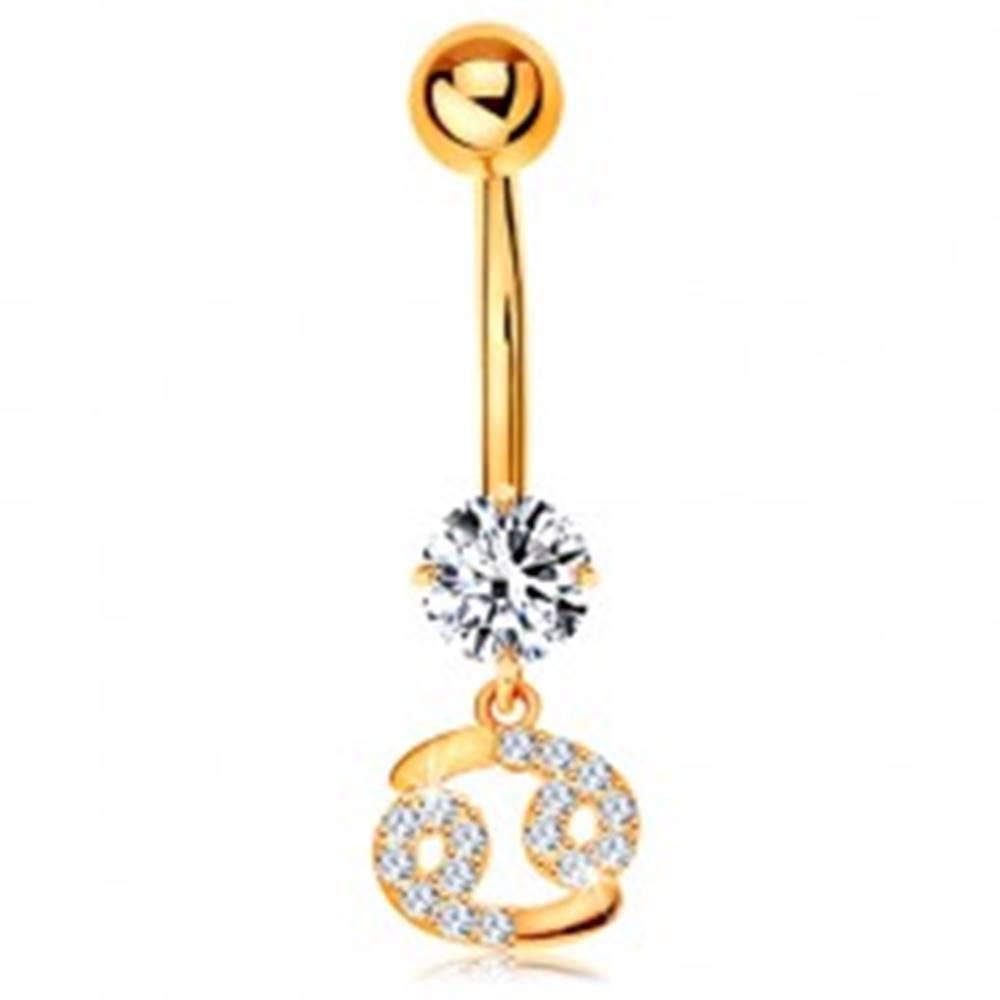 Šperky eshop Zlatý 14K piercing do bruška - číry zirkón, ligotavý symbol zverokruhu - RAK