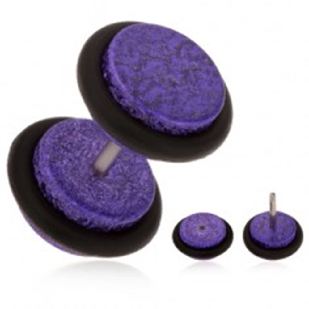Šperky eshop Akrylový falošný plug do ucha, fialový pieskovaný povrch, gumičky