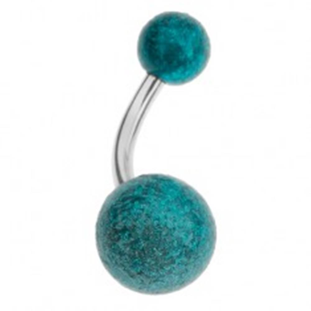 Šperky eshop Akrylový piercing do pupka, tyrkysové guličky s pieskovaným povrchom