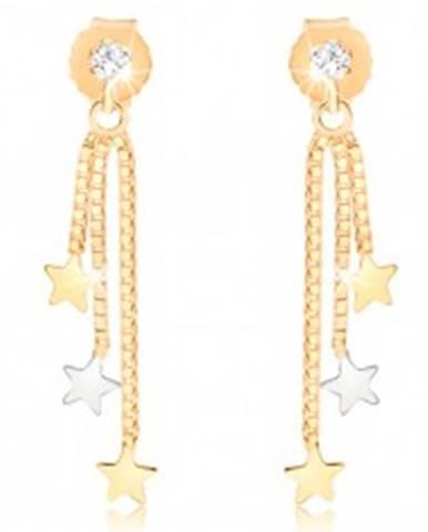 Visiace náušnice z 9K zlata, tri hviezdičky na retiazkach, číry zirkón GG56.08