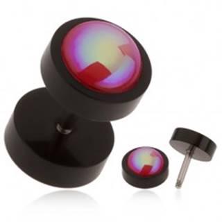 Akrylový fake plug do ucha čiernej farby, červená gulička, dúhový odlesk