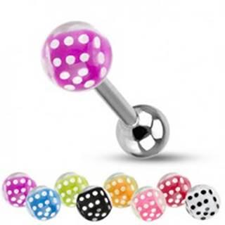 Barbell do jazyka z ocele, strieborná farba, guličky, farebné hracie kocky - Farba piercing: Biela