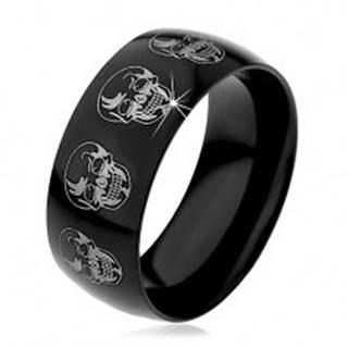 Čierny prsteň z ocele 316L, lebky v striebornom odtieni, 9 mm - Veľkosť: 59 mm