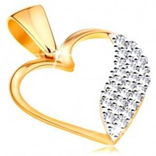 Dvojfarebný prívesok v 14K zlate - obrys srdca, široká vlnka z čírych zirkónov