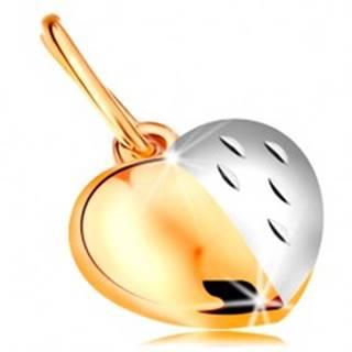 Dvojfarebný prívesok zo 14K zlata - lesklo-matné srdce zdobené zárezmi
