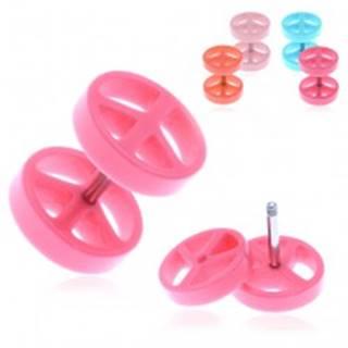 Fake akrylový plug do ucha s farebným symbolom mieru - Farba piercing: Modrá
