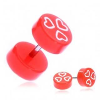 Fake piercing do ucha z akrylu - oranžové kolieska a srdcia