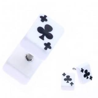 Falošný akrylový plug do ucha s trojlistom na karte